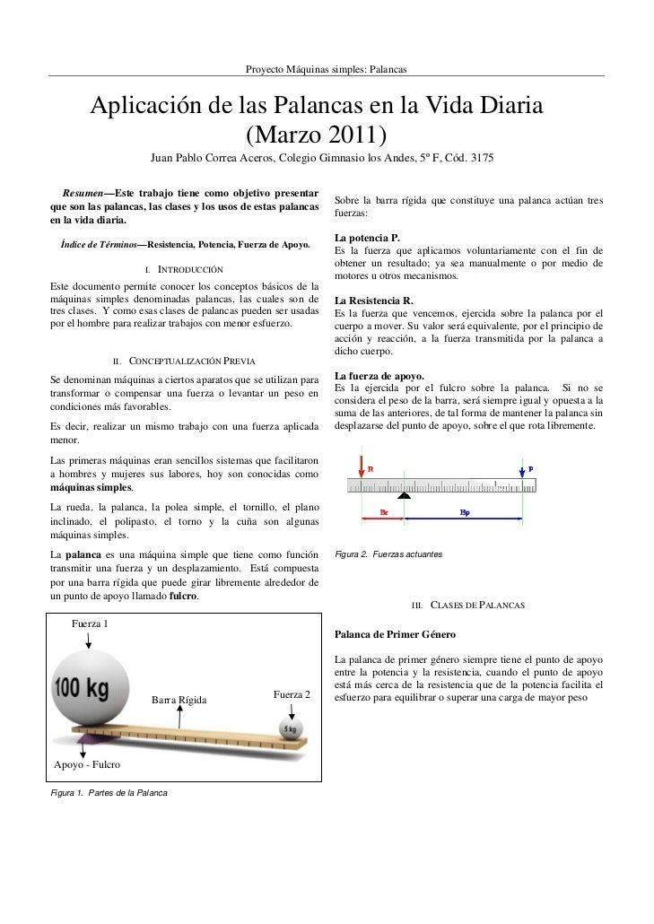 Proyecto Máquinas simples: Palancas           Aplicación de las Palancas en la Vida Diaria                         (Marzo...