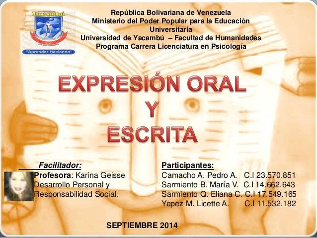 República Bolivariana de Venezuela  Ministerio del Poder Popular para la Educación  Universitaria  Universidad de Yacambú ...