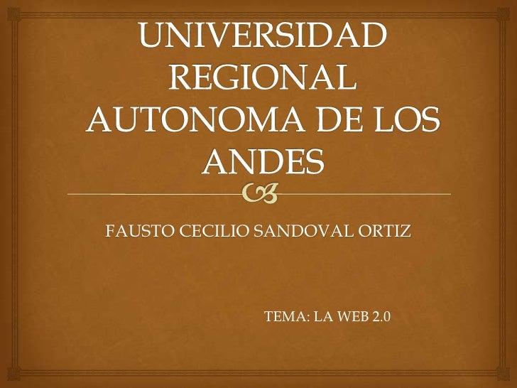 FAUSTO CECILIO SANDOVAL ORTIZ               TEMA: LA WEB 2.0