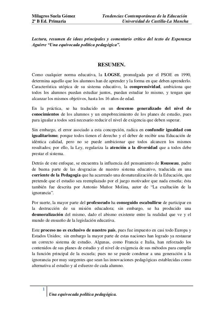 Milagros Suela Gómez                  Tendencias Contemporáneas de la Educación2º B Ed. Primaria                          ...