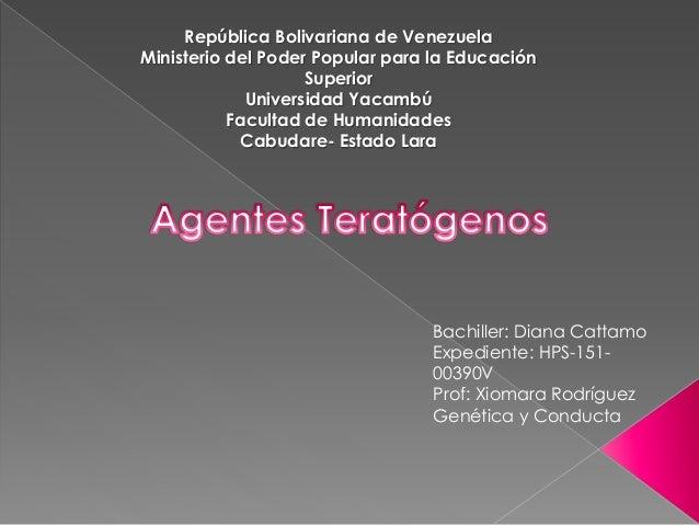 República Bolivariana de Venezuela Ministerio del Poder Popular para la Educación Superior Universidad Yacambú Facultad de...