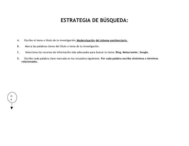 ESTRATEGIA DE BÚSQUEDA:       A.     Escribe el tema o título de tu investigación: Modernización del sistema penitenciario...