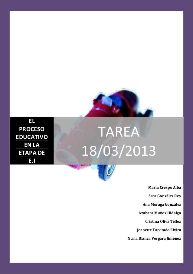 EL PROCESOEDUCATIVO     TAREA   EN LA ETAPA DE    E.I            18/03/2013                            María Crespo Alba  ...
