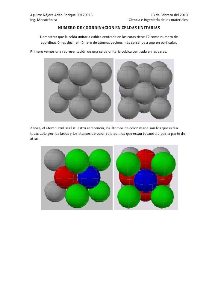 NUMERO DE COORDINACION EN CELDAS UNITARIAS<br />Demostrar que la celda unitaria cubica centrada en las caras tiene 12 como...