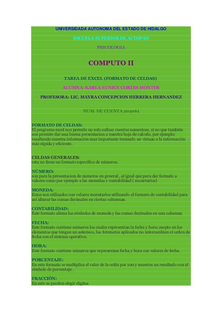 UNIVERSIDADA AUTONOMA DEL ESTADO DE HIDALGO<br />ESCUELA SUPERIOR DE ACTOPAN<br />PSICOLOGIA<br />COMPUTO II<br />TAREA DE...