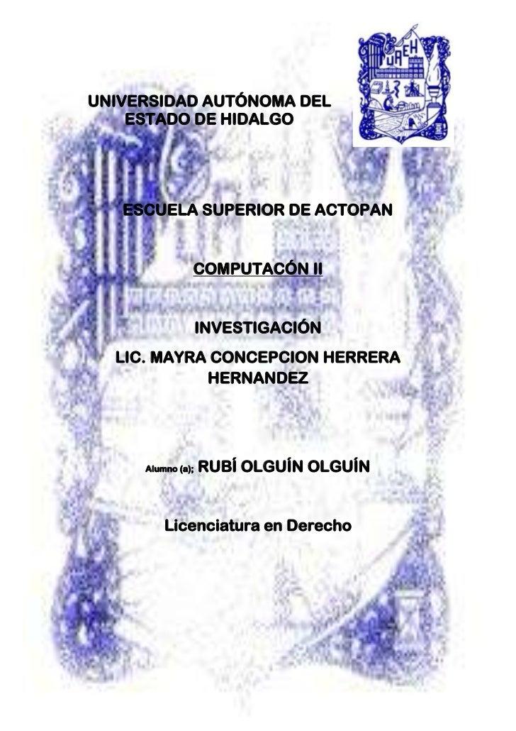 4089400-578485-756285-57594500<br />UNIVERSIDAD AUTÓNOMA DEL ESTADO DE HIDALGO<br />ESCUELA SUPERIOR DE ACTOPAN<br />COMPU...