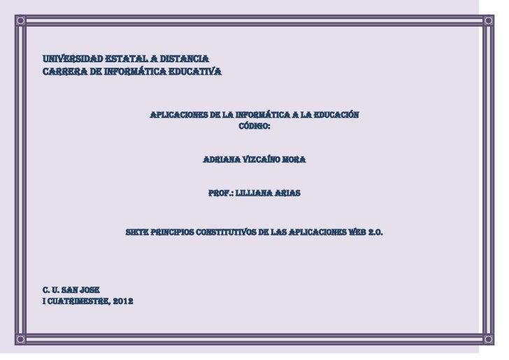 Universidad Estatal a DistanciaCarrera de Informática Educativa                       Aplicaciones de la Informática a la ...