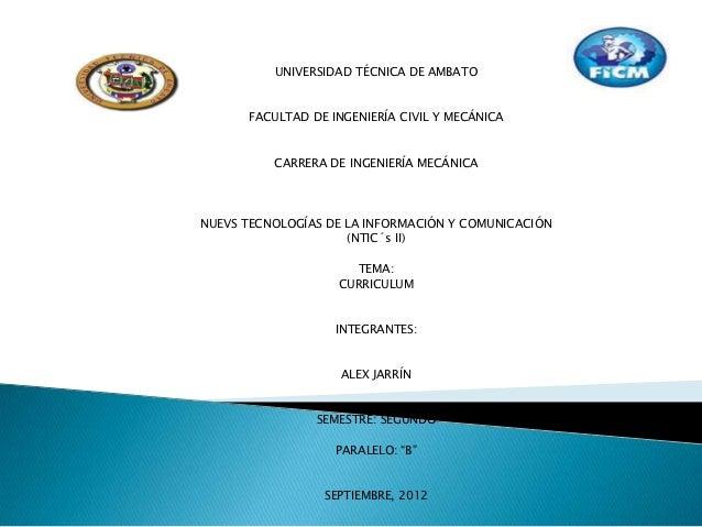 UNIVERSIDAD TÉCNICA DE AMBATO      FACULTAD DE INGENIERÍA CIVIL Y MECÁNICA          CARRERA DE INGENIERÍA MECÁNICANUEVS TE...