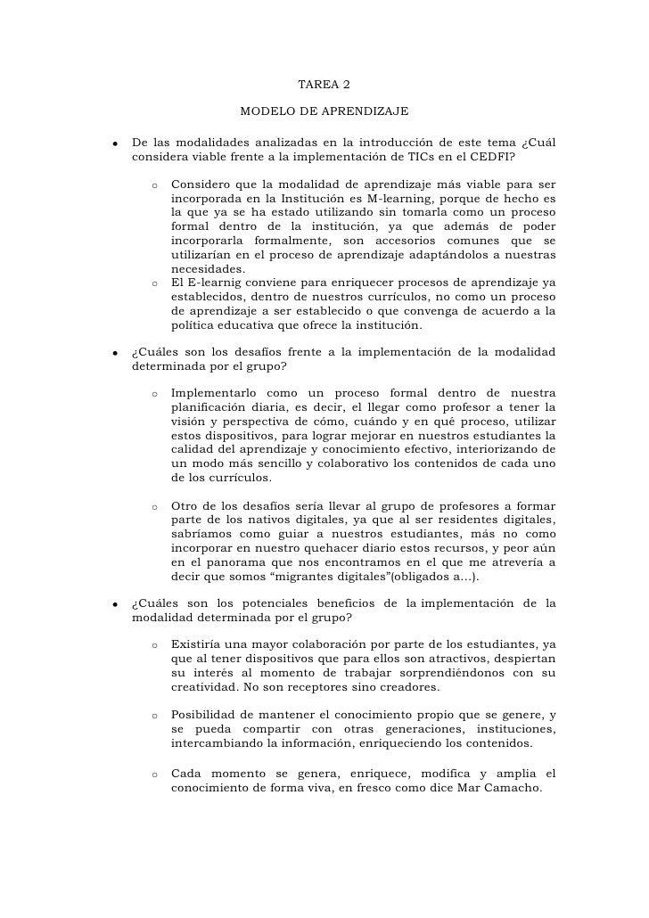 TAREA 2                   MODELO DE APRENDIZAJEDe las modalidades analizadas en la introducción de este tema ¿Cuálconsider...