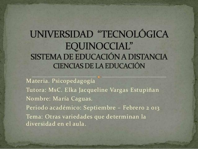 Materia. PsicopedagogíaTutora: MsC. Elka Jacqueline Vargas EstupiñanNombre: María Caguas.Periodo académico: Septiembre – F...