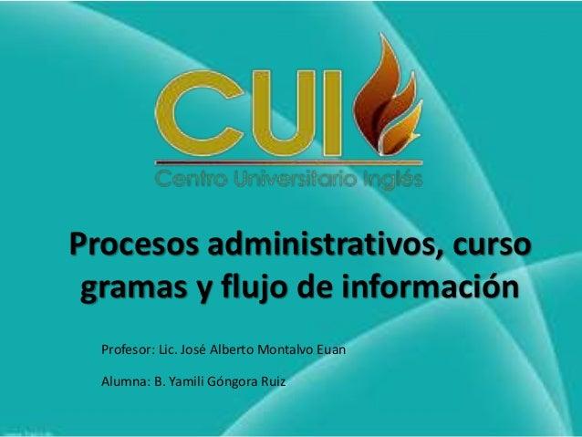 Procesos administrativos, curso gramas y flujo de información Profesor: Lic. José Alberto Montalvo Euan Alumna: B. Yamili ...