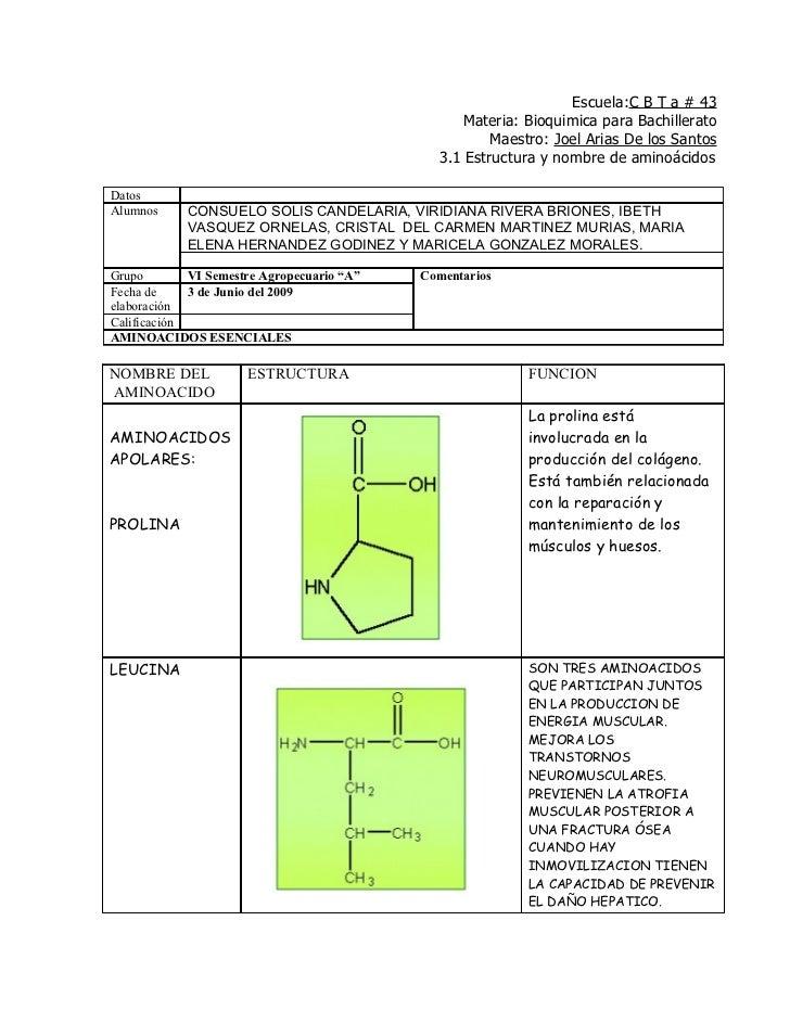 Escuela:C B T a # 43                                                   Materia: Bioquimica para Bachillerato              ...