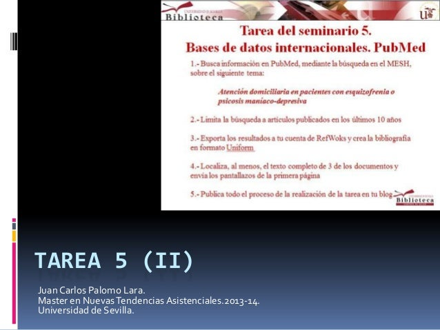 TAREA 5 (II) Juan Carlos Palomo Lara. Master en Nuevas Tendencias Asistenciales.2013-14. Universidad de Sevilla.
