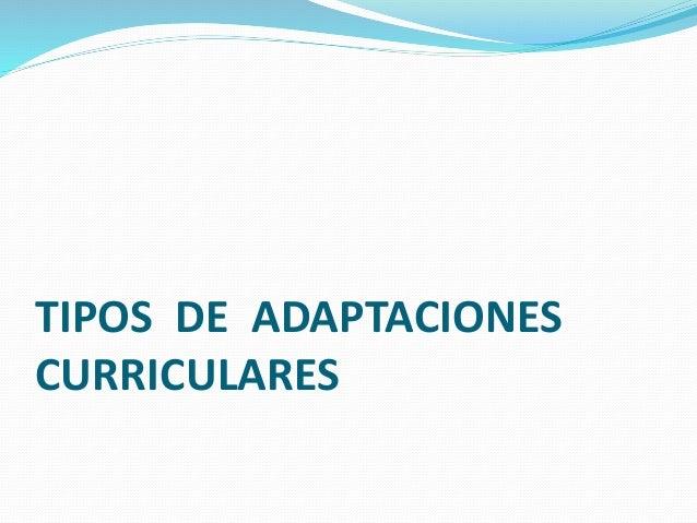 TIPOS DE ADAPTACIONES CURRICULARES