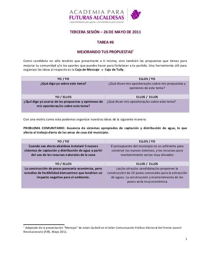 TERCERA SESIÓN – 26 DE MAYO DE 2011 TAREA #6 MEJORANDO TUS PROPUESTAS1 Como candidata no sólo tendrás que presentarte a ti...