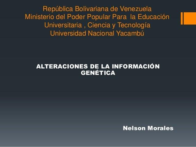 República Bolivariana de Venezuela Ministerio del Poder Popular Para la Educación Universitaria , Ciencia y Tecnología Uni...