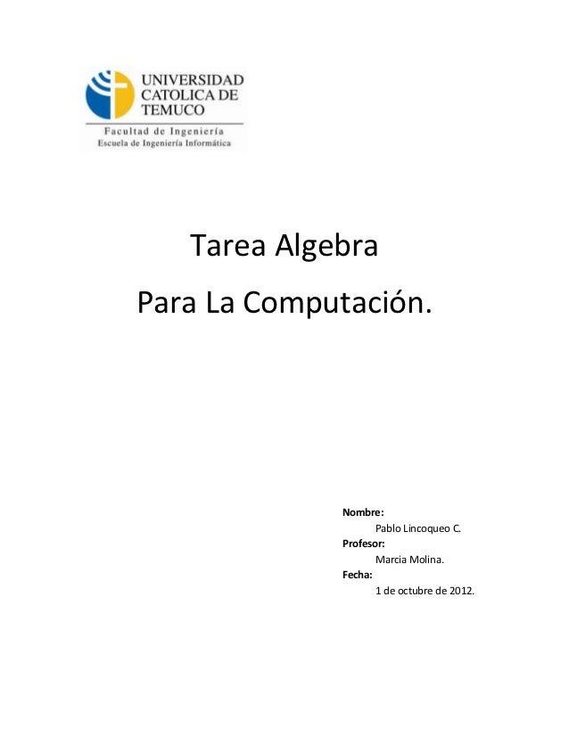 Tarea AlgebraPara La Computación.             Nombre:                    Pablo Lincoqueo C.             Profesor:         ...