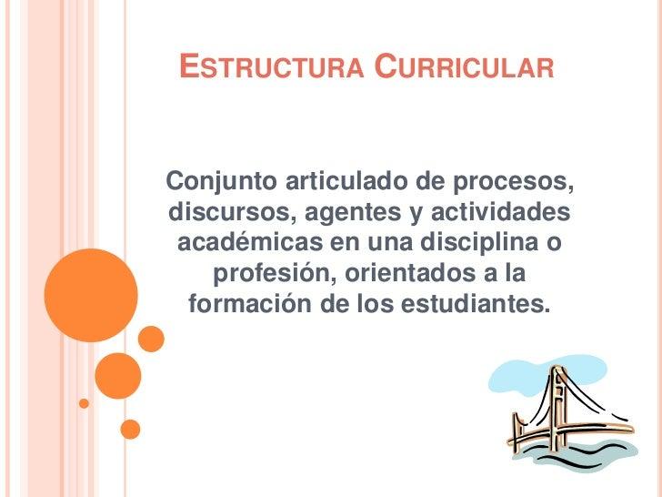 Estructura Curricular<br />Conjunto articulado de procesos, discursos, agentes y actividades académicas en una disciplina ...