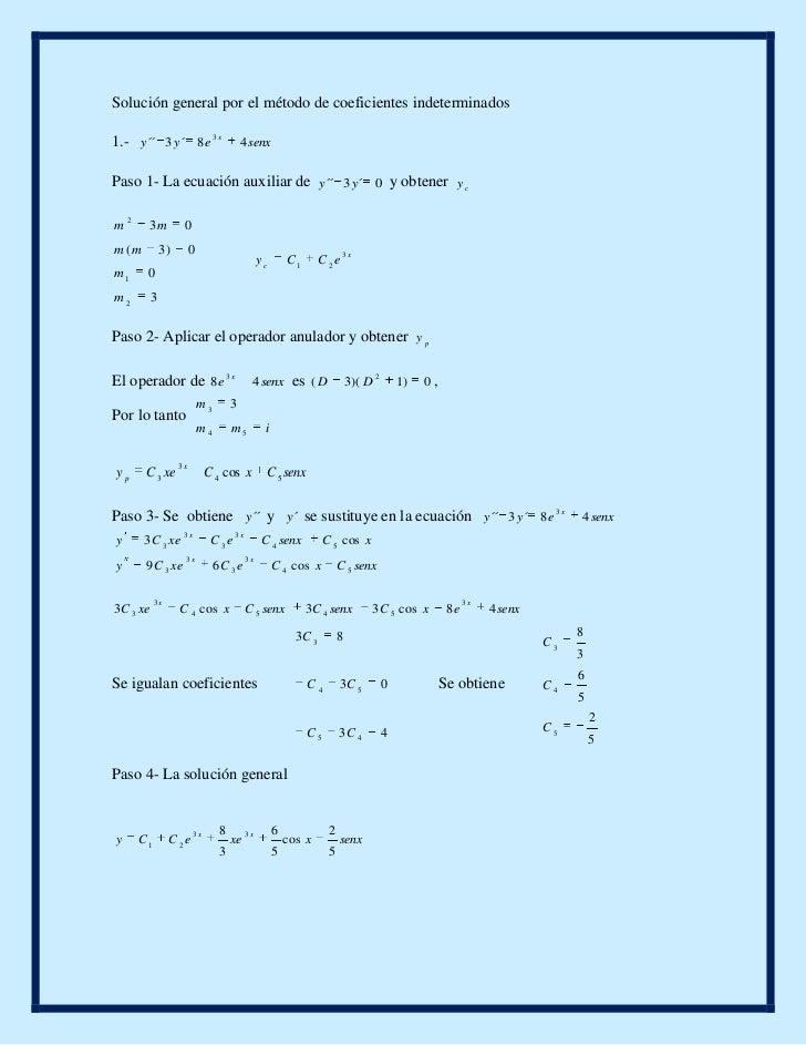 Solución general por el método de coeficientes indeterminados<br />1.-  <br />Paso 1- La ecuación auxiliar de  y obtener <...