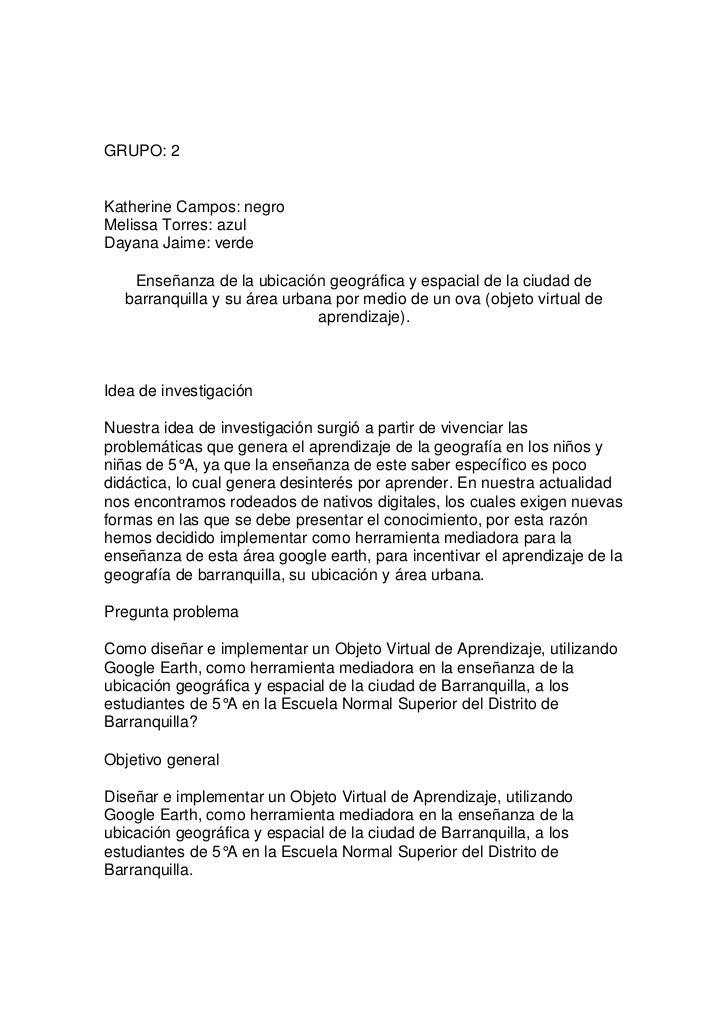 GRUPO: 2Katherine Campos: negroMelissa Torres: azulDayana Jaime: verde   Enseñanza de la ubicación geográfica y espacial d...