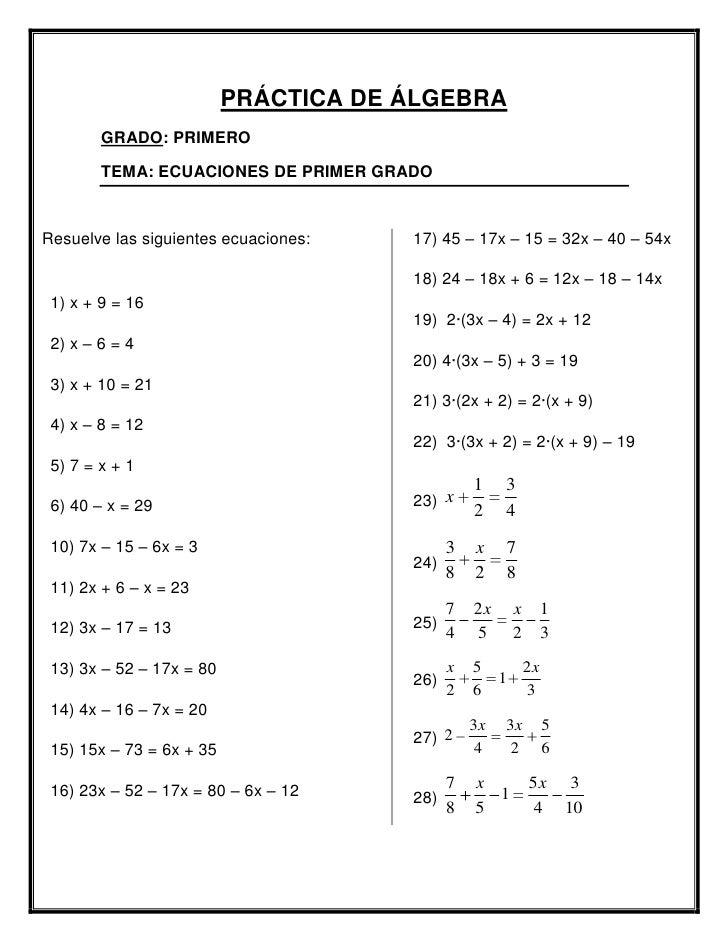 Tarea de álgebra 1 er. año