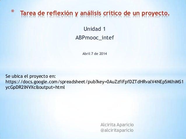 Tarea de reflexión y análisis crítico (tareas unidad1 abp mooc)