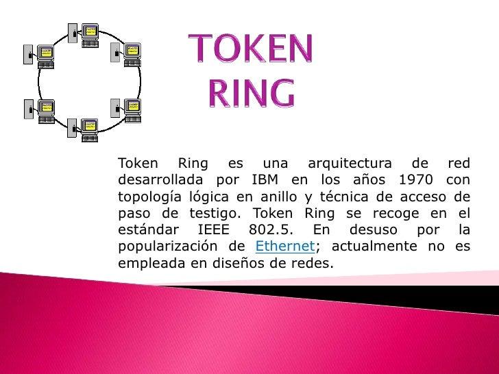 TOKEN RING<br />Token Ring es una arquitectura de red desarrollada por IBM en los años 1970 con topología lógica en anillo...