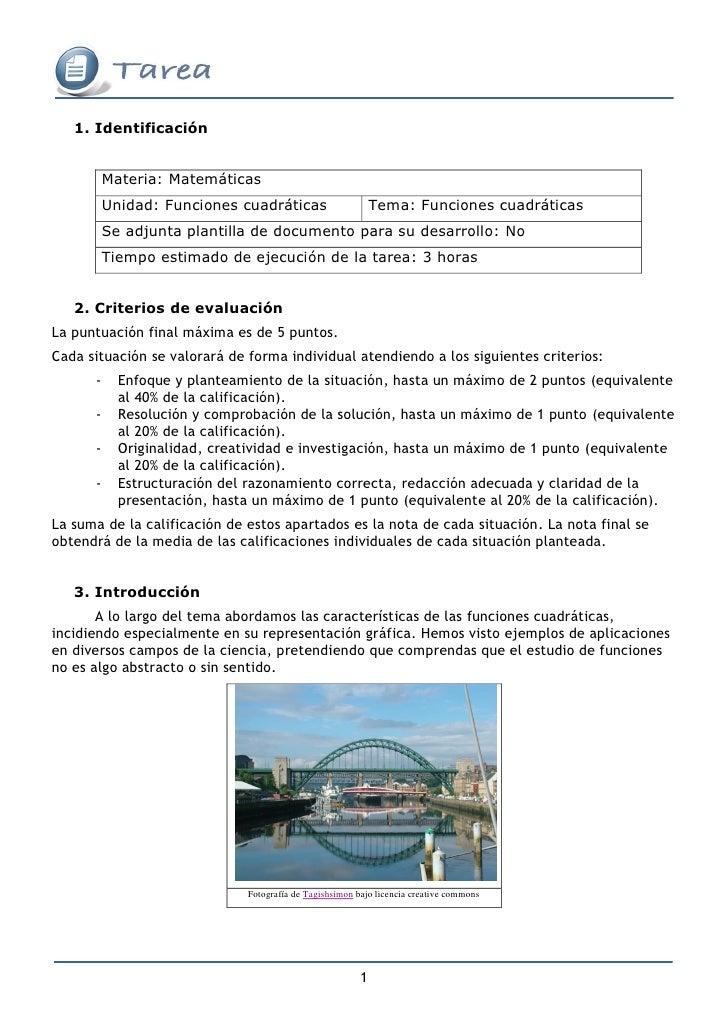 1. Identificación             Materia: Matemáticas           Unidad: Funciones cuadráticas                       Tema: Fun...