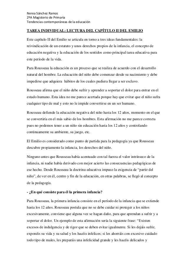 Nerea Sánchez Ramos 2ºA Magisterio de Primaria Tendencias contemporáneas de la educación TAREA INDIVIDUAL: LECTURA DEL CAP...