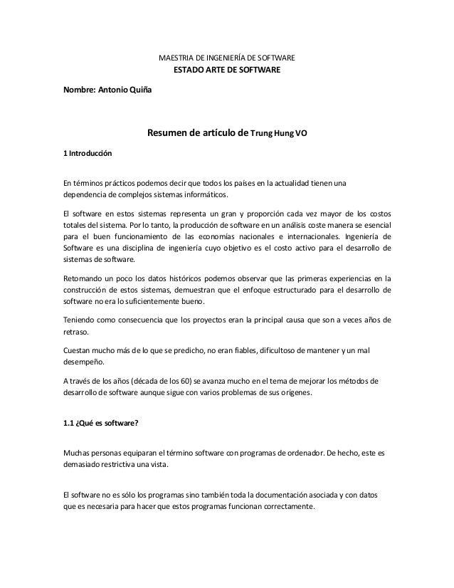 MAESTRIA DE INGENIERÍA DE SOFTWARE  ESTADO ARTE DE SOFTWARE Nombre: Antonio Quiña  Resumen de artículo de Trung Hung VO 1 ...