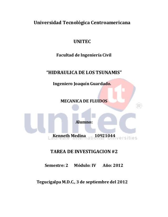 """Universidad Tecnológica Centroamericana                  UNITEC          Facultad de Ingeniería Civil     """"HIDRAULICA DE L..."""