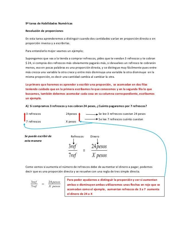 9ª tarea de Habilidades NuméricasResolución de proporcionesEn esta tarea aprenderemos a distinguir cuando dos cantidades v...