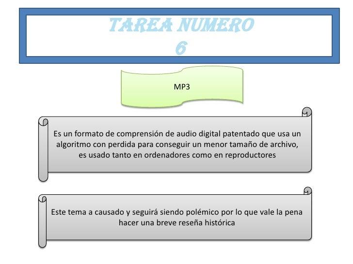 TAREA NUMERO                    6                                 MP3Es un formato de comprensión de audio digital patenta...