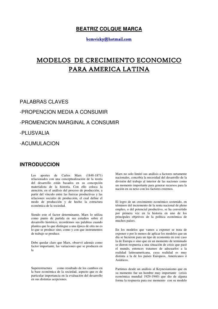BEATRIZ COLQUE MARCA<br />bcmvicky@hotmail.com<br />MODELOS  DE CRECIMIENTO ECONOMICO  PARA AMERICA LATINA<br />     <br /...