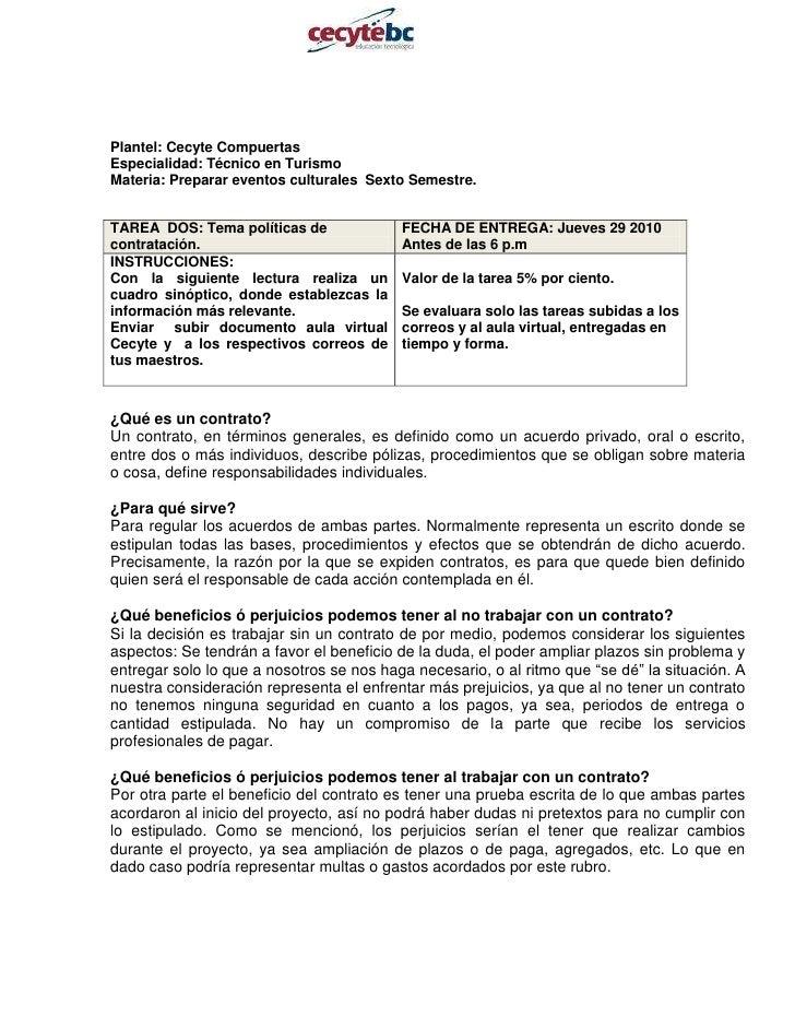 Plantel: Cecyte Compuertas                                       <br />Especialidad: Técnico en Turismo<br />Materia: Prep...