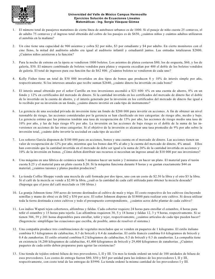 Universidad del Valle de México Campus Hermosillo                                            Ejercicios Solución de Ecuaci...