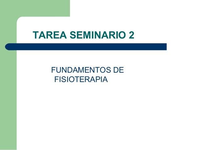 TAREA SEMINARIO 2 FUNDAMENTOS DE FISIOTERAPIA