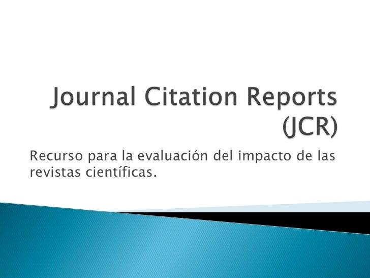 Uso de Journal Citation Reports (JCR)
