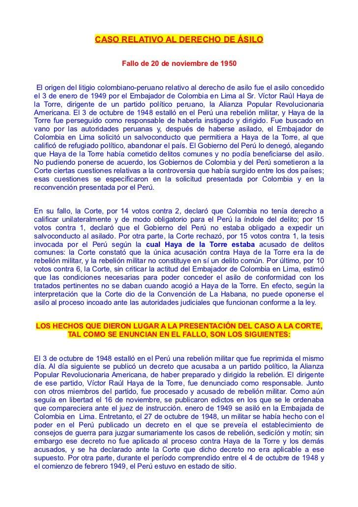 fallo de la Corte Internacional de Justicia de la Haya sobre el Asilo del Dr Haya de la Torre.