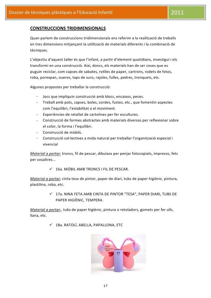 Dossier de tècniques plàstiques a l'Educació Infantil                                            2011          CONSTRUCCIO...