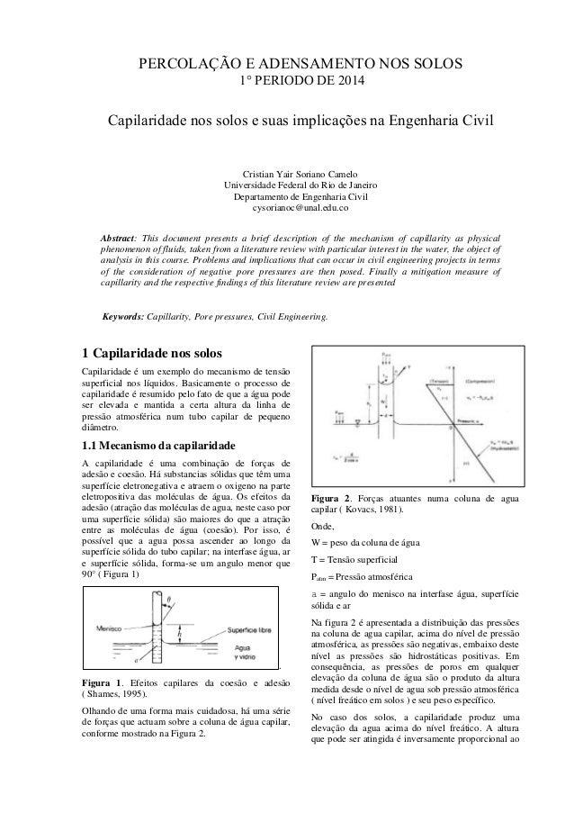 PERCOLAÇÃO E ADENSAMENTO NOS SOLOS 1° PERIODO DE 2014 Capilaridade nos solos e suas implicações na Engenharia Civil Cristi...
