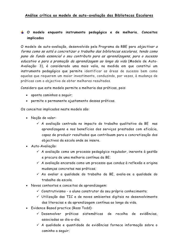 Análise crítica ao modelo de auto-avaliação das Bibliotecas Escolares       O modelo enquanto instrumento pedagógico e de ...