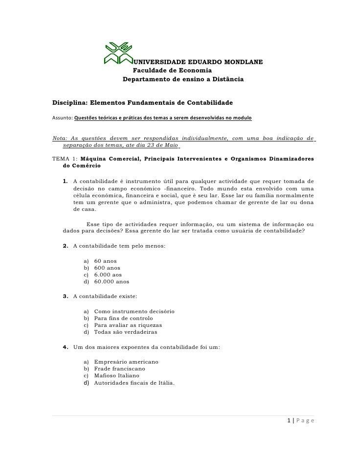 UNIVERSIDADE EDUARDO MONDLANE                             Faculdade de Economia                           Departamento de ...