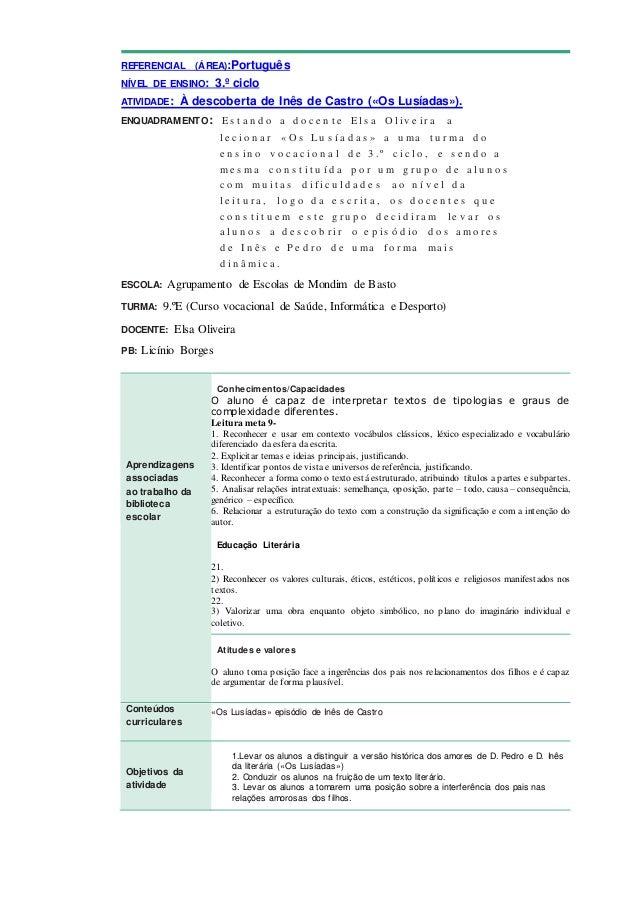 REFERENCIAL (ÁREA):Português NÍVEL DE ENSINO: 3.º ciclo ATIVIDADE: À descoberta de Inês de Castro («Os Lusíadas»). ENQUADR...