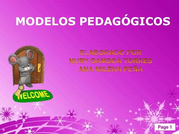 MODELOS PEDAGÓGICOS                 Page 1