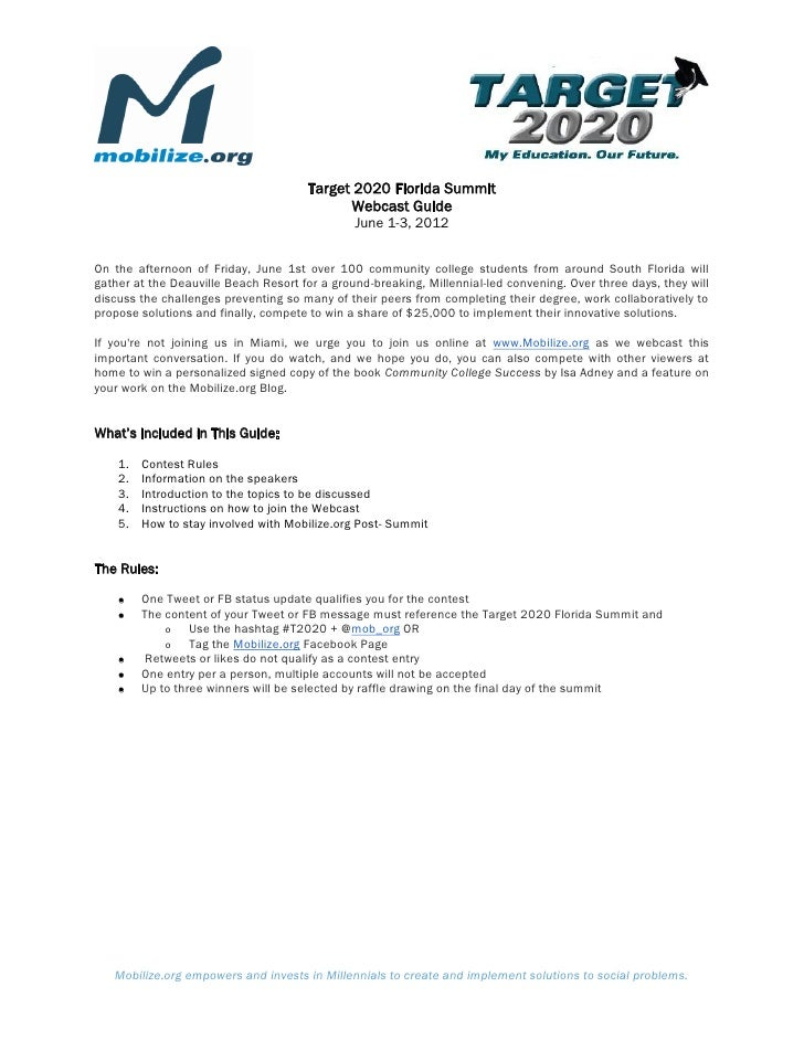 Target 2020 Florida Summit                                            Webcast Guide                                       ...