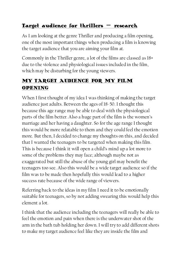 Target audience for thrillers film opening write up