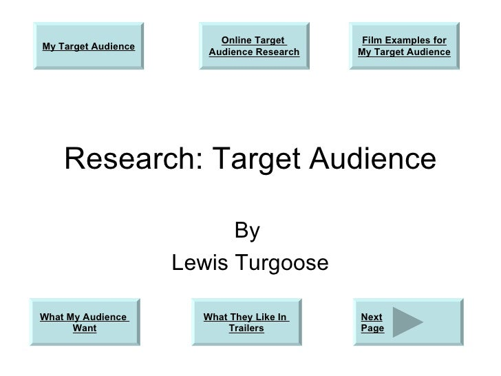 Research: Target Audience By  Lewis Turgoose My Target Audience What They Like In  Trailers What My Audience  Want Online ...