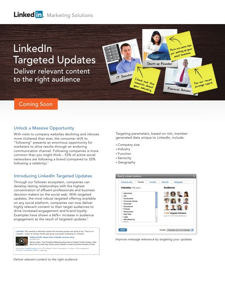 Marketing SolutionsLinkedInTargeted UpdatesDeliver relevant contentto the right audience     Coming SoonUnlock a Massive O...