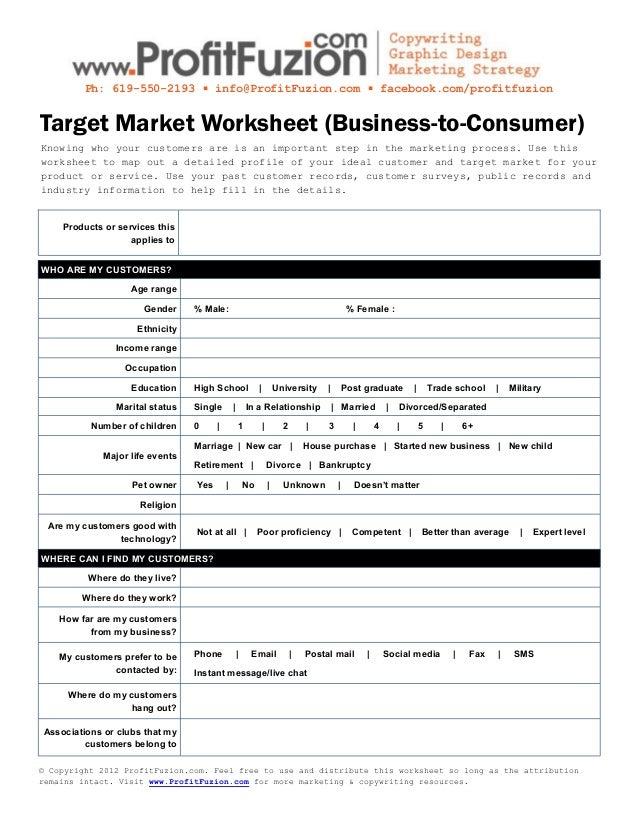 Target Market Worksheet (Business to Consumer)